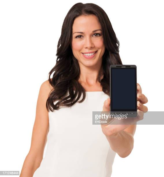 Young Businesswoman with Smart Phone Isolated on White Background