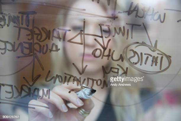 Young businesswoman writing with a marker on glass