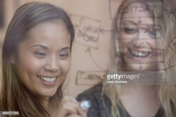 Young businesswomen writing with a marker on glass