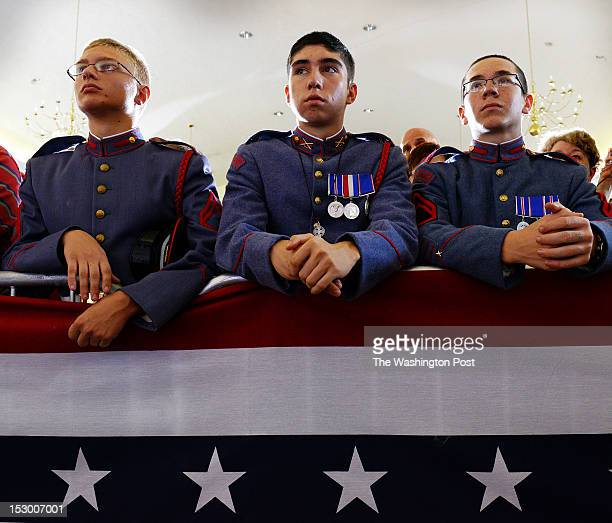 Young cadets listen as Republican presidential candidate Mitt Romney makes remarks at a rally held at Valley Forge military academy on September 2012...