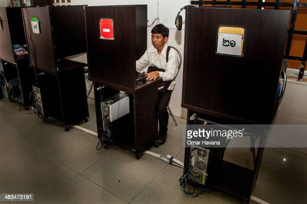 A young Cambodian checks social media from an internet cafe on April 9 2014 in Phnom Penh Cambodia Leaked to the media for the first time on 9 April...
