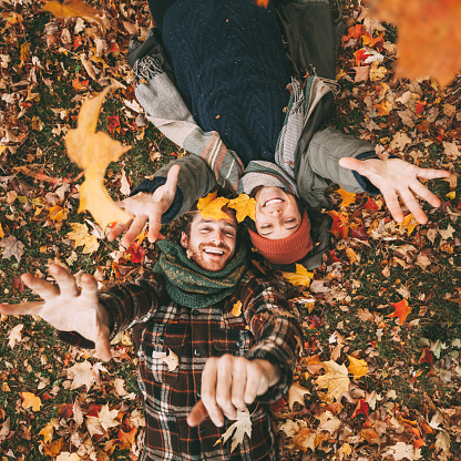 Young Canadian Heterosexual Couple Enjoying A Beautiful Autumn Day Outdoors 1032123694