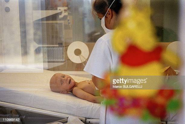 Young cancer victim of the Chernobyl disaster receives treatment at a hospital in September 2004 in Minsk, Belarus. Next month sees the 25th...