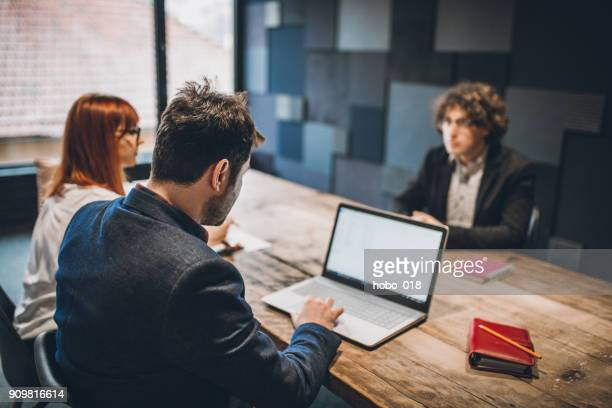 young candidate nervous at job interview - recruiter stock pictures, royalty-free photos & images