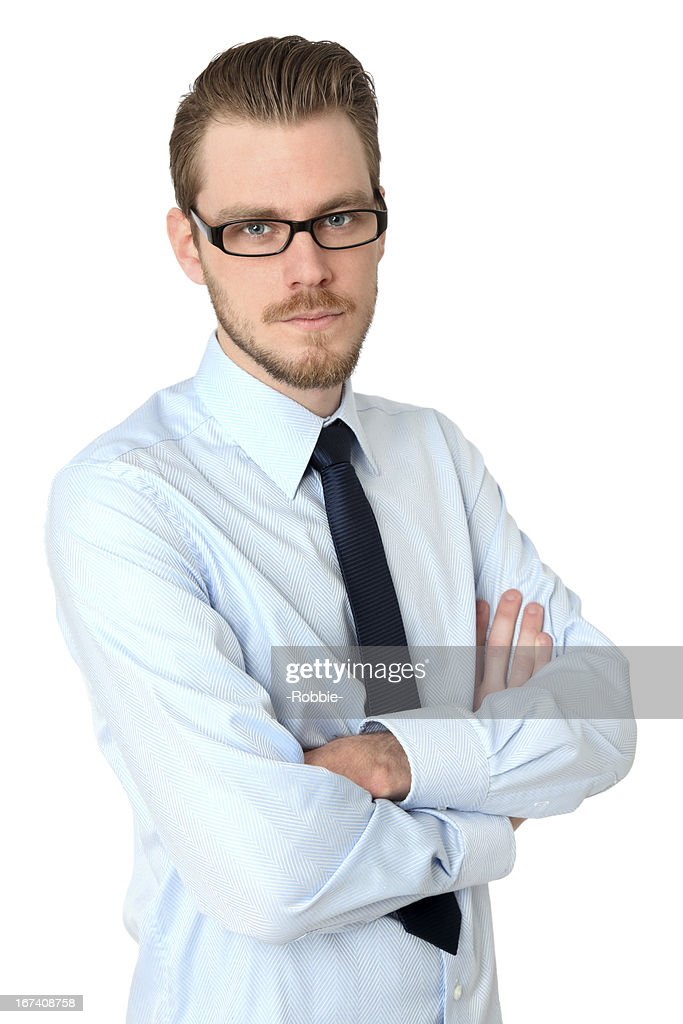 Young casual man with crossed arms : Stock Photo