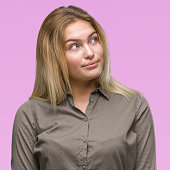 young caucasian business woman over isolated
