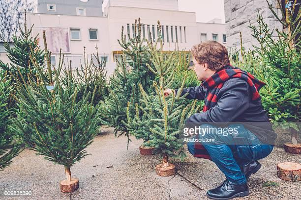Junge kaukasischen Mann Sie Weihnachtsbaum, City Market, Europa