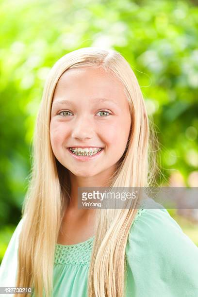 Young Caucasian Teen Girl Portrait with Dental Teeth Braces