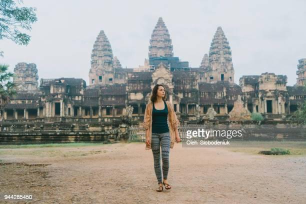 Young Caucasian woman in Angkor Wat
