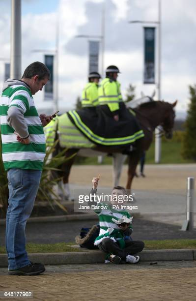 A young Celtic fan before the Ladbrokes Scottish Premiership match at Celtic Park Glasgow