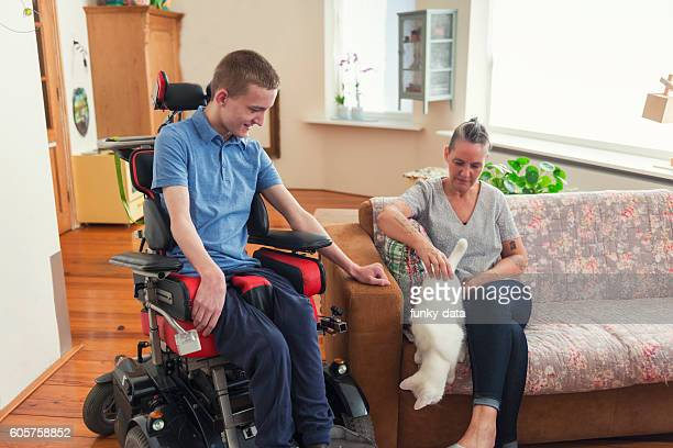 Young Cerebral Palsy patient at home