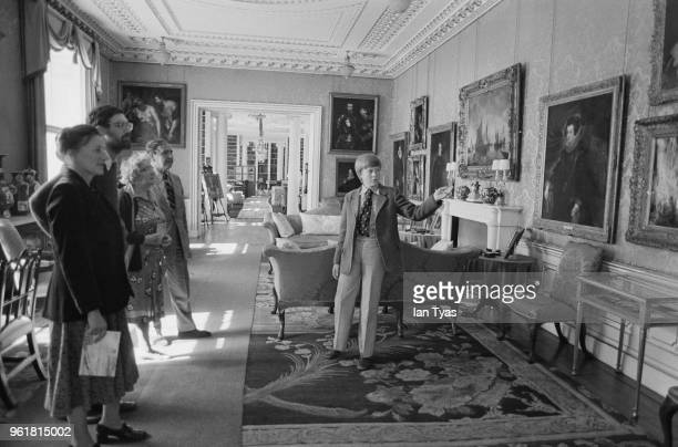 Young Charles Spencer Viscount Althorp and later the 9th Earl Spencer a godson of Queen Elizabeth II and brother of Lady Diana Spencer shows tourists...
