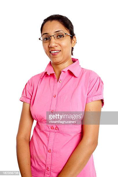 Young Cheerful Indian Businesswoman isolated on White Background