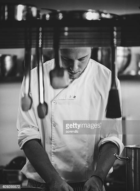 Young Chef working in a commercial kitchen.