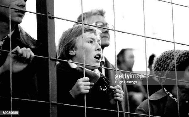 A young Chelsea fan watching the English Division Two match between Leyton Orient and Chelsea held on October 21 1980 at Brisbane Road in London...