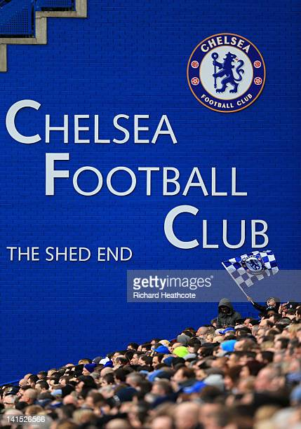 A young Chelsea fan waves his flag during the FA Cup sixth round match between Chelsea and Leicester City at Stamford Bridge on March 18 2012 in...