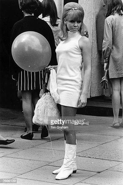 A young Chelsea woman wearing a mini dress in 'swinging' London