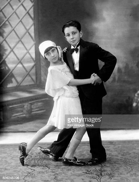 Young child couple in a studio dance pose in Yonkers NY ca 1925
