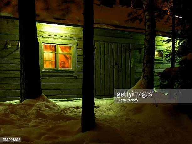 A young child looks out of the window of Jatkankamppa sauna in the grounds of the Spa Hotel Rauhalahti in Kuopio Central Finland It is the world's...