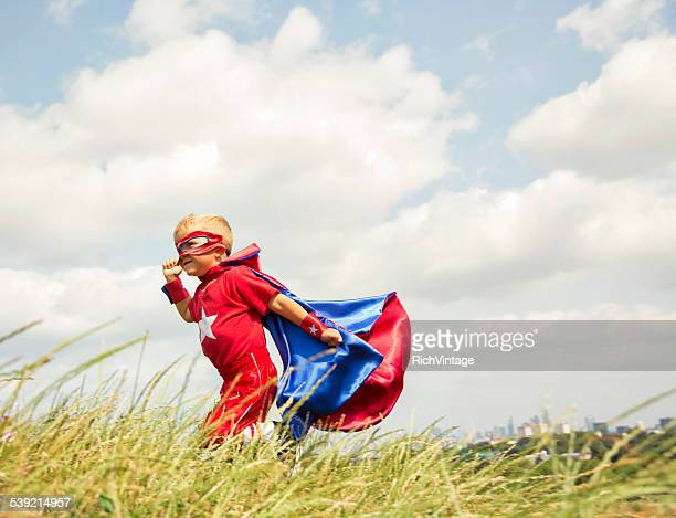 Young Child Superhero in Regent Park overlooking London