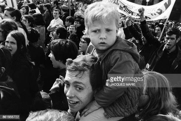 A young child takes part in the traditional May Day rally in Paris 01 May 1968