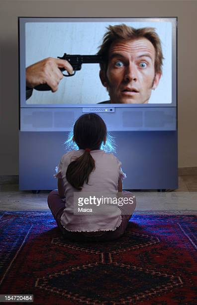 Young Child Watching Violent Television