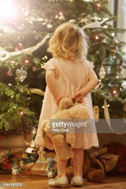 young child with teddy looking up at christmas tree - versierde jurk stockfoto's en -beelden