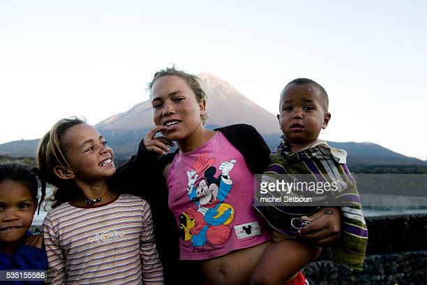 Young children at the foot of Fogo volcano In the 19th century the descendants of French adventurer Armand de Montrond settled in the volcanic crater...