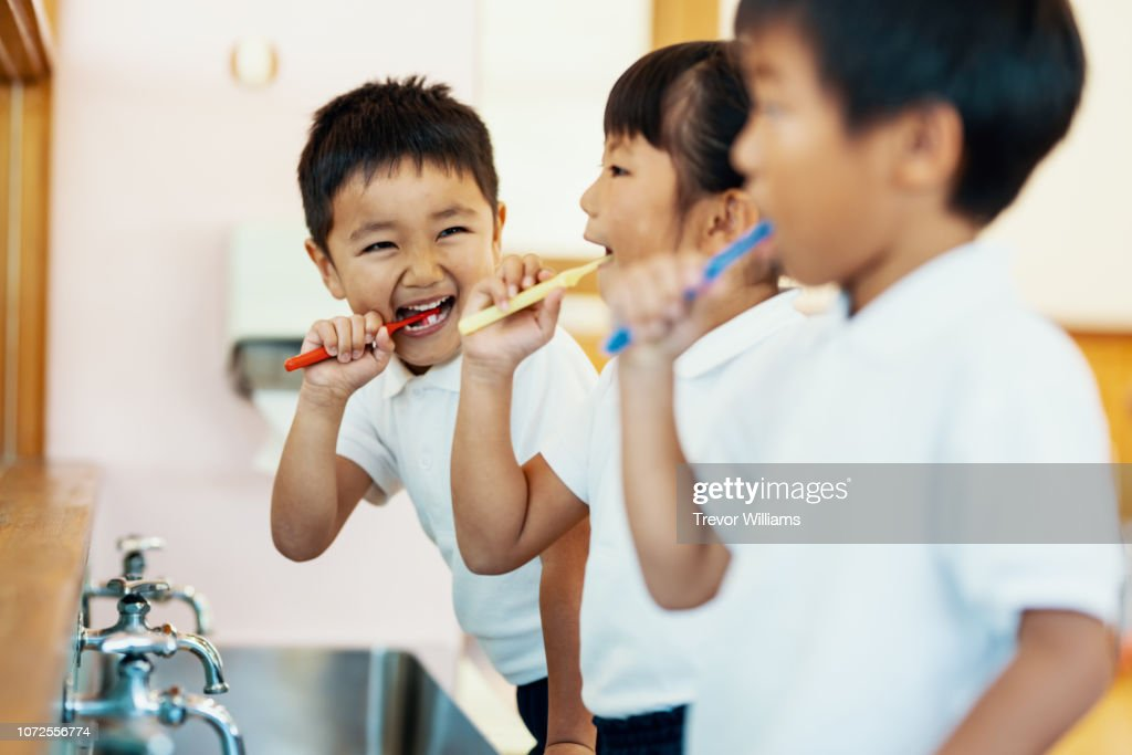 Young children brushing their teeth in a mirror at preschool in Japan : Stock Photo