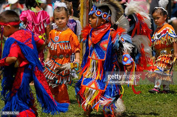 Young children Native Indian dancers in tiny tots competition at a Grand River Pow Wow