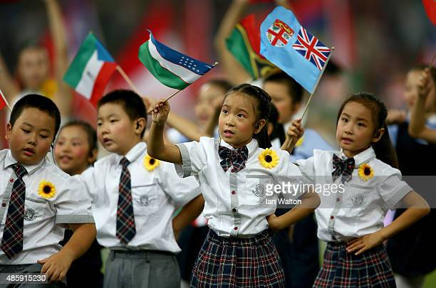 Young children perform during the closing ceremony on day nine of the 15th IAAF World Athletics Championships Beijing 2015 at Beijing National...