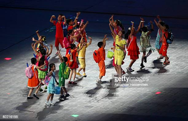 Young children perform during the Opening Ceremony for the 2008 Beijing Summer Olympics at the National Stadium on August 8 2008 in Beijing China