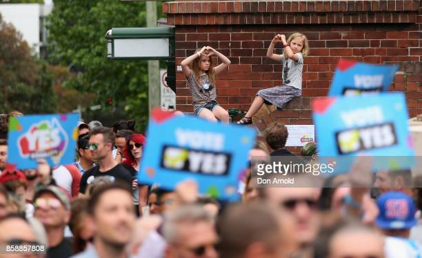 Young children show their support at a Marriage Equality rally in Taylor Square on October 8 2017 in Sydney Australia Australians are currently...