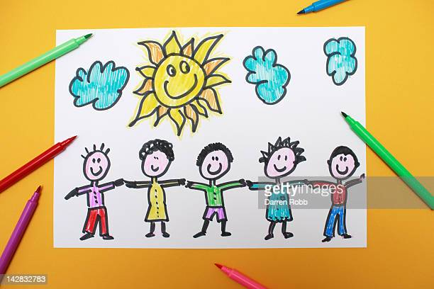 A young child's drawing of a group of friends