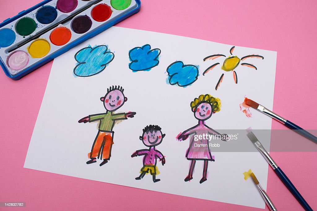A young child's painting of a family : Stock Photo