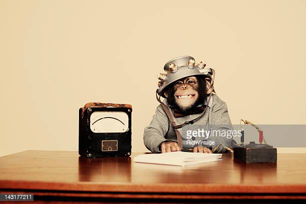 Young Chimpanzee Nerd with Mind Reading Helmet