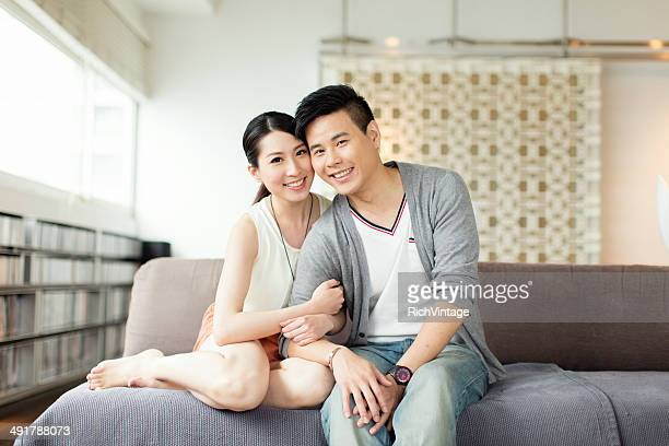 Young Chinese Couple Portrait on Couch