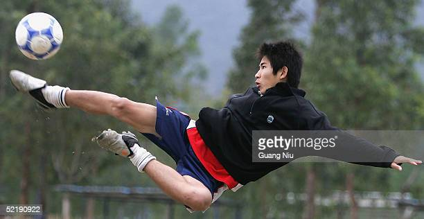 Young Chinese soccer players take part in a training course on February 12 2005 in Qingyuan Guangdong province China More than one thousand players...