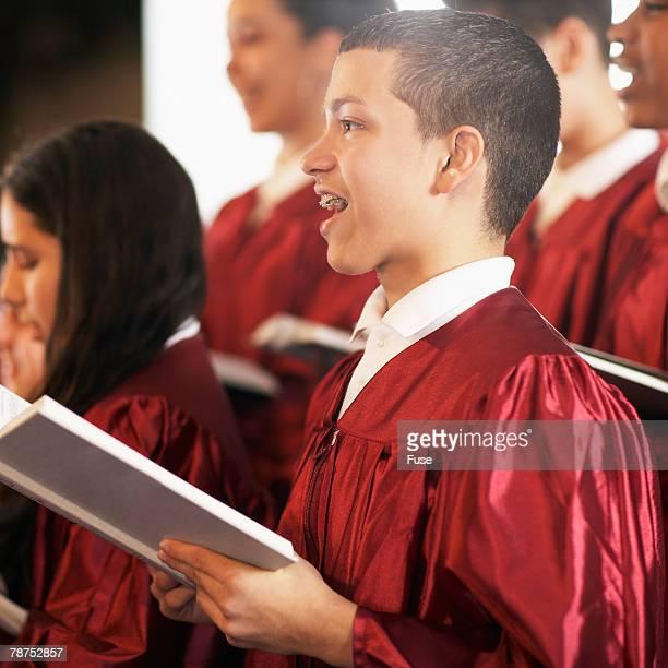 Young Choir Members Singing