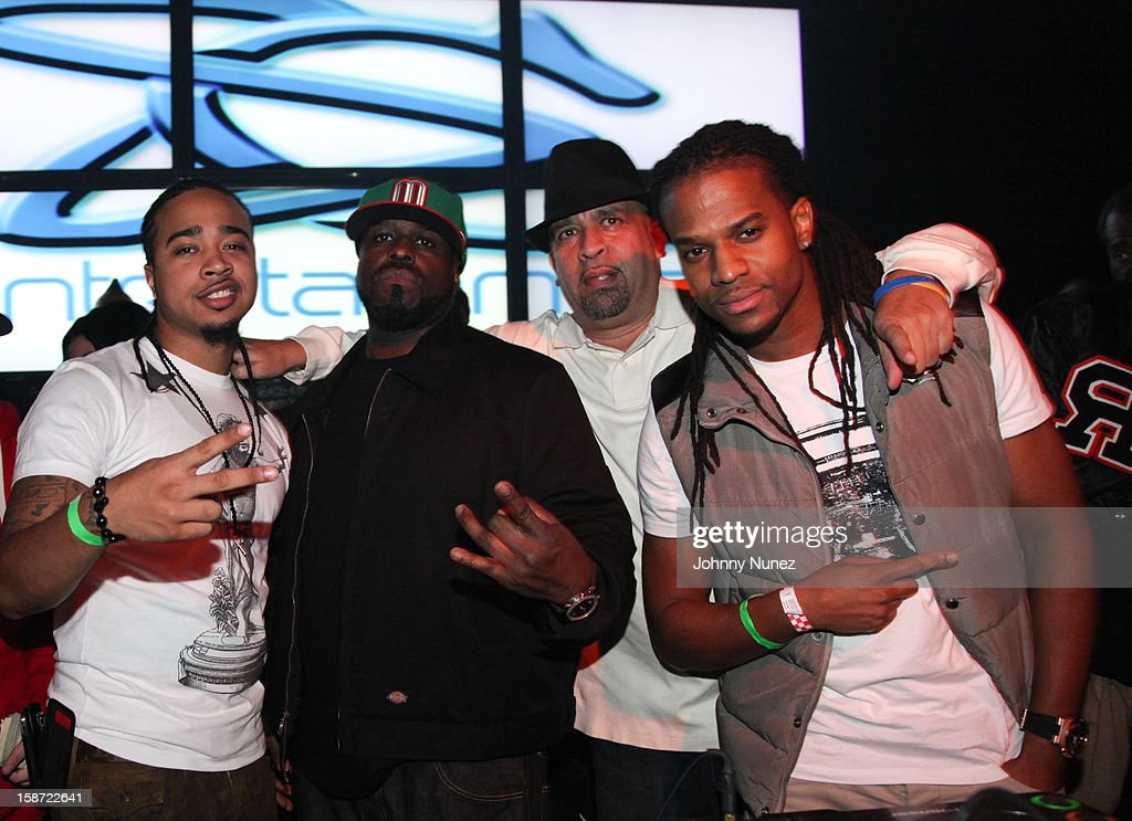 DJ Young Chow, DJ Funkmaster Flex, promoter Joe Jackson and DJ Spynfo attend Nicki Minaj's Christmas Extravaganza at Webster Hall on December 25, 2012 in New York City.