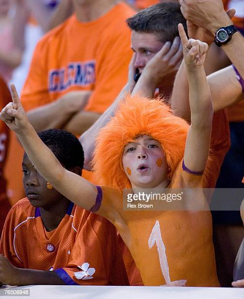 A young Clemson Tiger fan celebrates a first half touchdown against the Florida State Seminoles on September 3 2007 in Clemson South Carolina