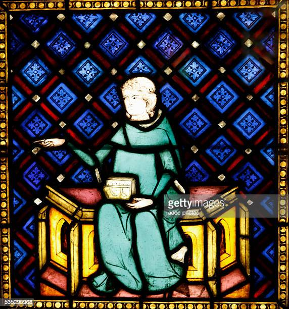 Young cleric teaching Stained glass of the Strasbourg cathedral Ca 13201330 Strasbourg Musée de l'Œuvre NotreDame