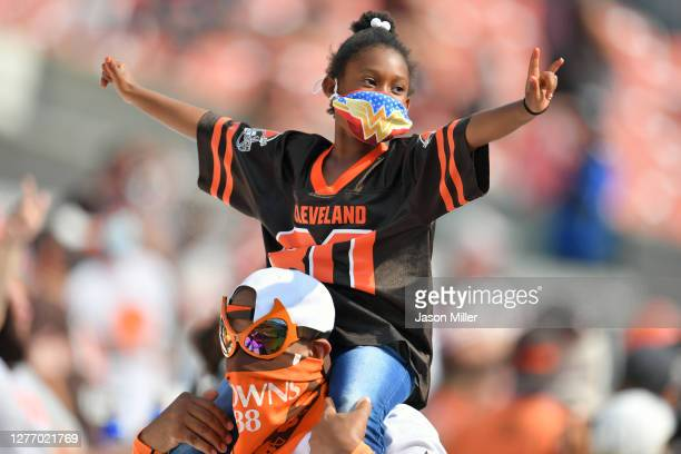 Young Cleveland Browns fan celebrates in the final minutes of the game against the Washington Football Team at FirstEnergy Stadium on September 27,...