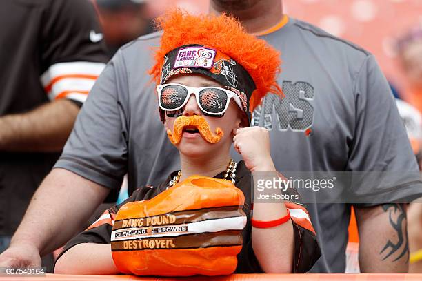 A young Cleveland Browns fan looks on before the game against the Baltimore Ravens at Cleveland Browns Stadium on September 18 2016 in Cleveland Ohio