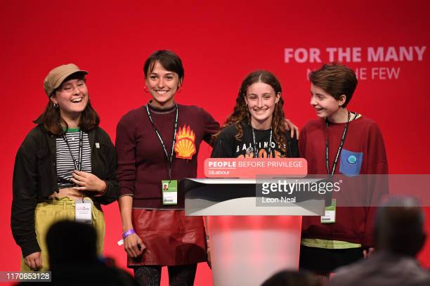 Young climate change activists including Uma Krieger and Roseanne Stetten speak on stage during the Labour Party Conference on September 24 2019 in...