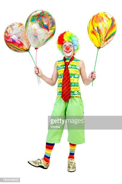 young clown with balloons - happy clown faces stock photos and pictures