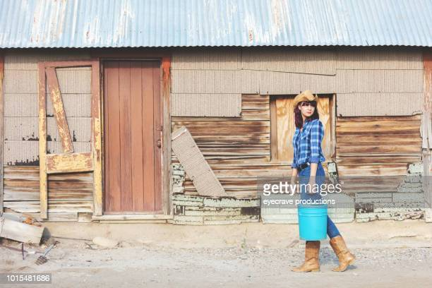Young College Aged Ethnic Females Summer Western Colorado Corn Industry Farm Life