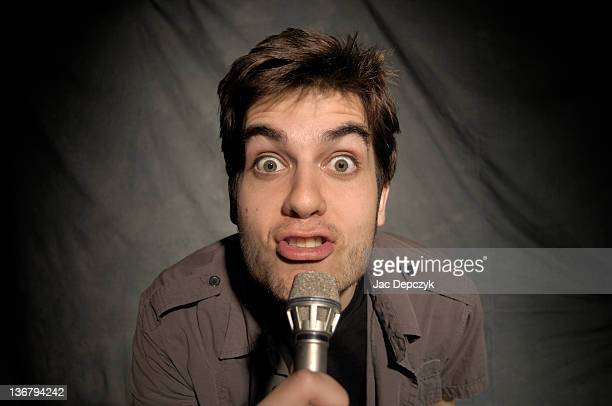 young comedian in one man show - depczyk stock pictures, royalty-free photos & images