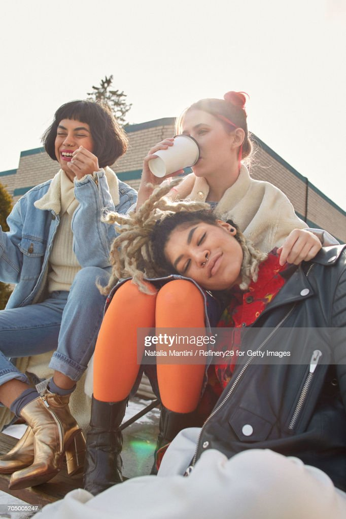 Young Confident Group Of Women Hanging Out : Stock Photo
