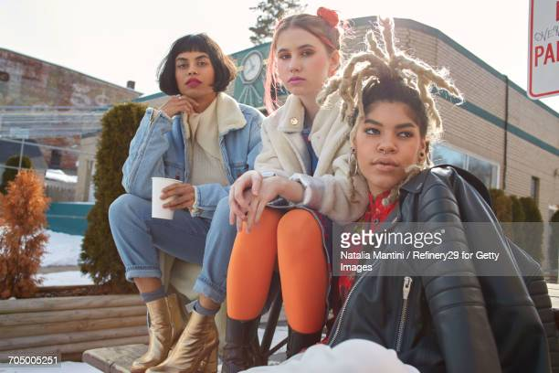 Young Confident Group Of Women Hanging Out
